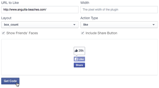Facebook Like button options