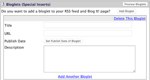 Bloglets Add Item button